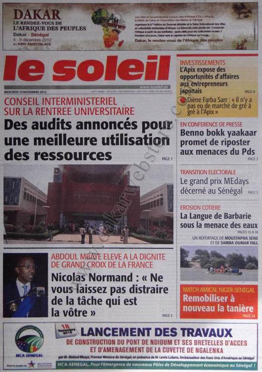 A la Une du Journal Le Soleil du 14 Novembre