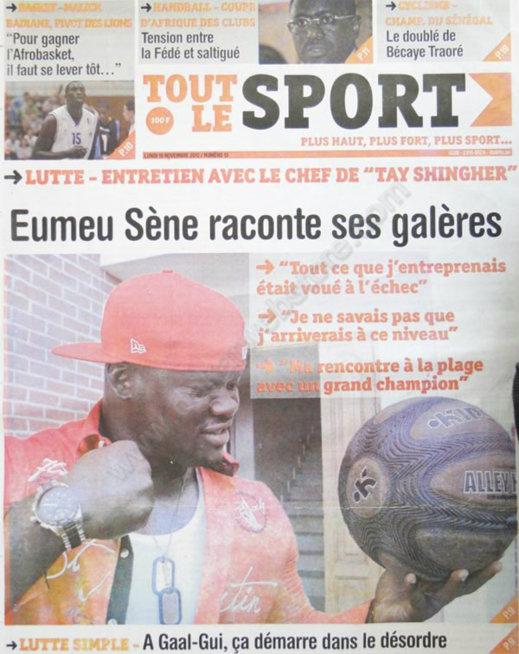 A la Une du Journal Tout le Sport du 19 Novembre