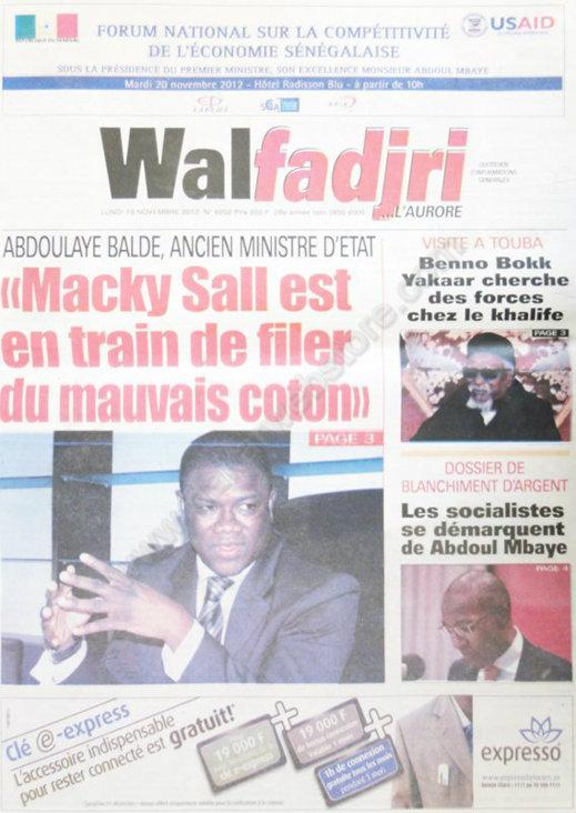 A la Une du Journal Walfadjri du 19 Novembre