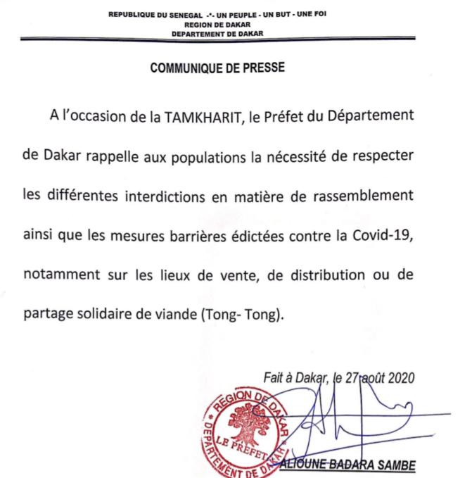 Covid 19 et Tamkharit: Le  Préfet de Dakar rappelle aux populations le respect des interdictions et des gestes barrières...