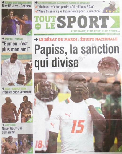 A la Une du Journal Tout le Sport du 20 Novembre