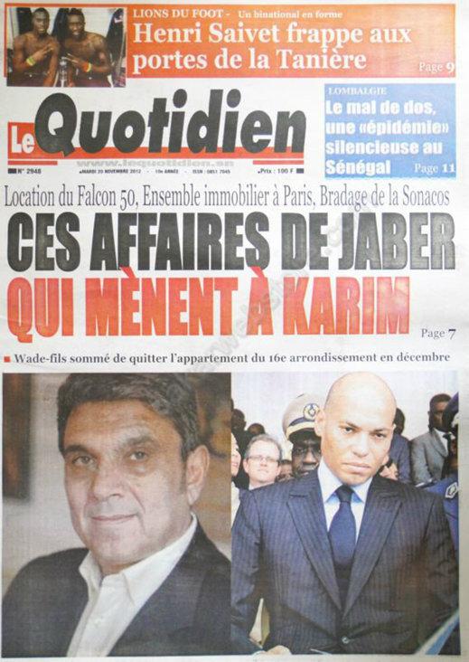 A la Une du Journal Le Quotidien du 20 Novembre