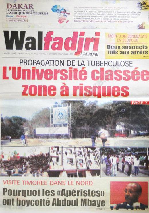 A la Une du Journal Walfadjri du 20 Novembre