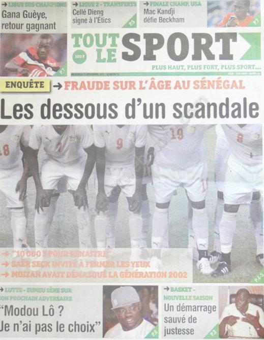 A la Une du Journal Tout Le Sport du 21 Novembre
