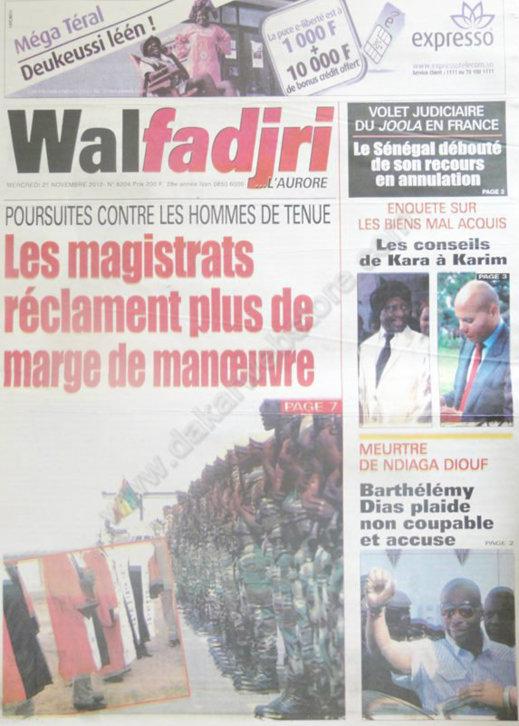 A la Une du Journal Walfadjri du 21 Novembre