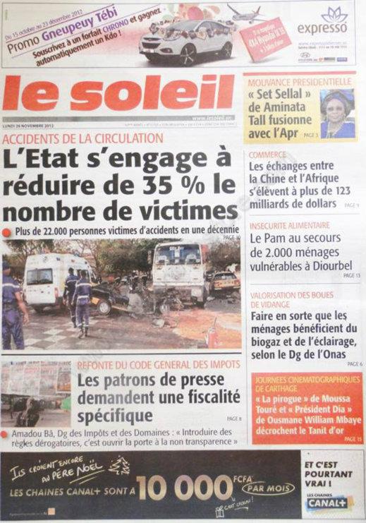 A la Une du Journal Le Soleil du 26 Novembre