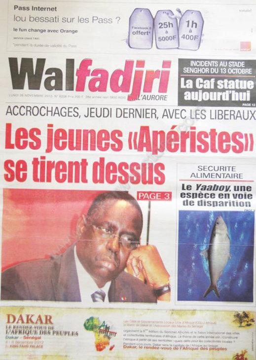 A la Une du Journal Walfadjri du 26 Novembre