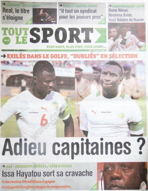 A la Une du Journal Tout Le Sport du 26 Novembre