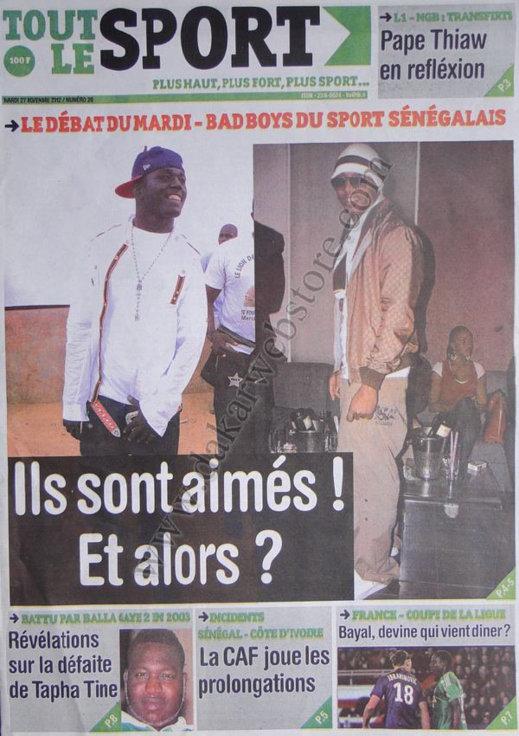 A la Une du Journal Tout Le Sport du 27 Novembre