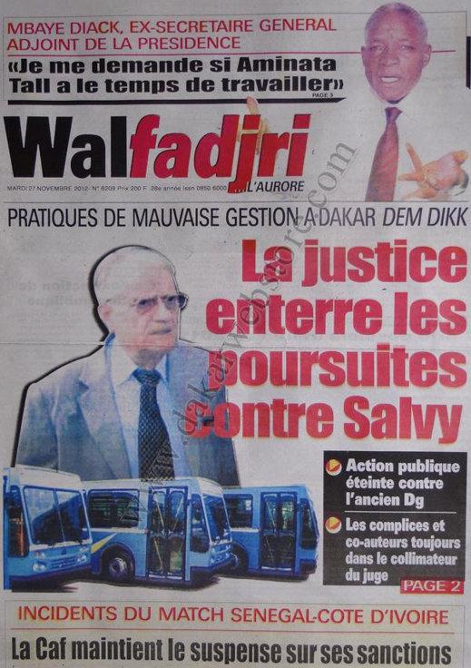 A la Une du Journal Walfadjri du 27 Novembre