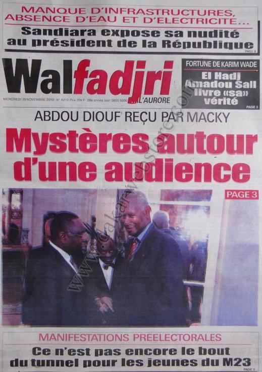 A la Une du Journal Walfadjri du 28 Novembre