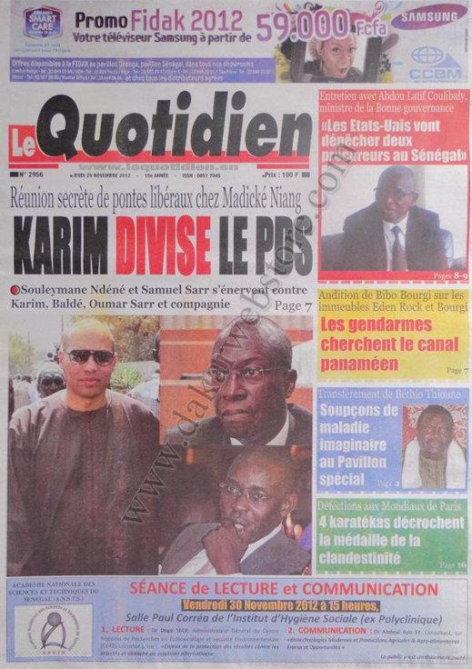 A la Une du Journal Le Quotidien du 29 Novembre