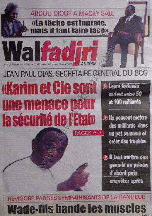 A la Une du Journal Walfadjri du 29 Novembre