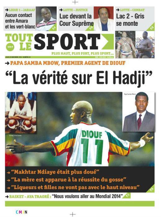 A la Une du Journal Tout Le Sport du 29 Novembre