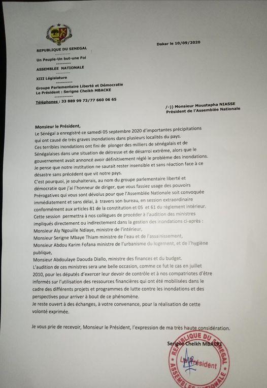 Inondations/Audition de ministres à l'Assemblée: La lettre du Pds à Moustapha Niasse!