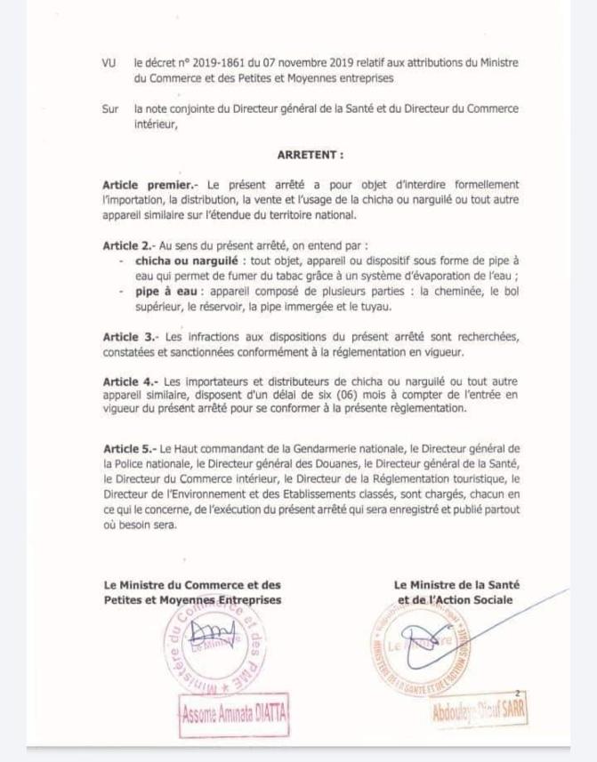Usage, vente et distribution...: Le Sénégal interdit la chicha