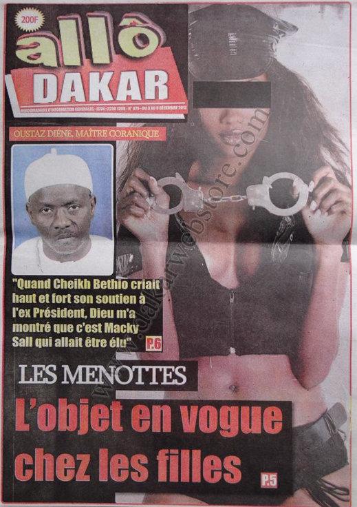 A la Une 1 du Journal Allô Dakar du 03 Décembre 2012