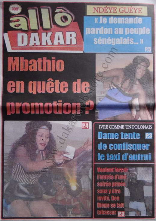 A la Une 2 du Journal Allô Dakar du 03 Décembre 2012