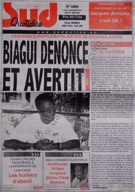A la Une du Journal Sud Quotidien du 03 Décembre 2012