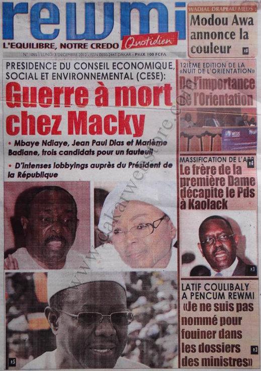 A la Une du Journal Rewmi Quotidein du 03 Décembre 2012