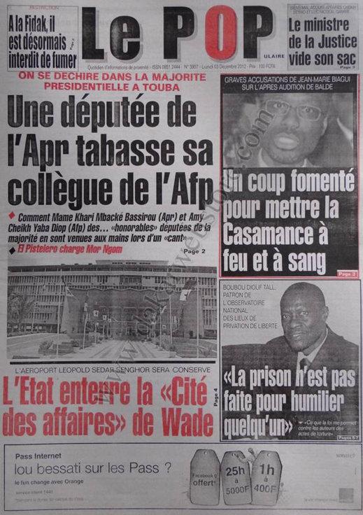 A la Une du Journal Le Populaire du 03 Décembre 2012