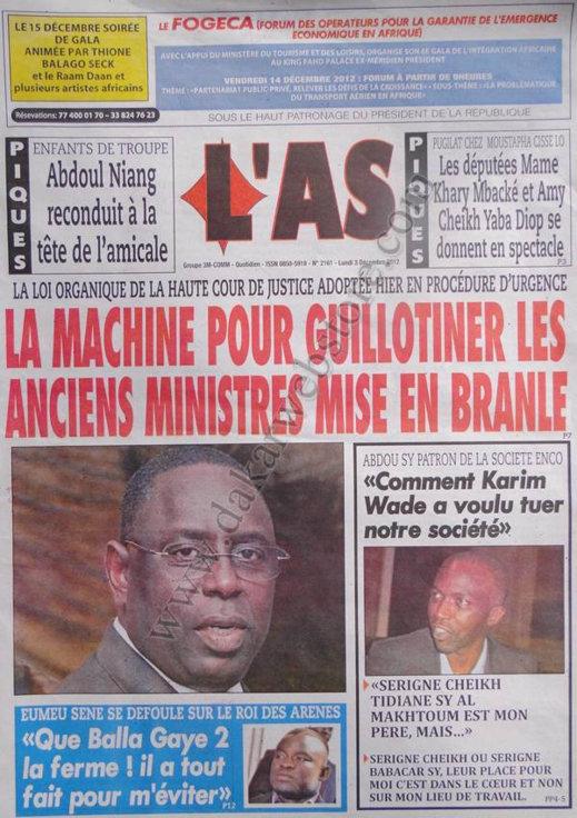 A la Une du Journal L'As du 03 Décembre 2012