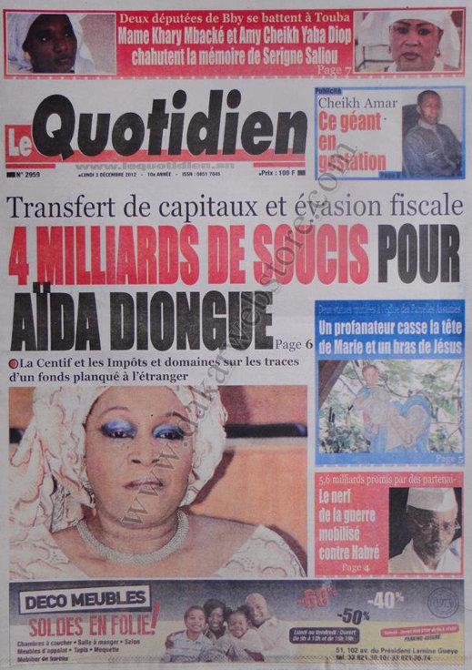 A la Une du Journal Le Quotidien du 03 Décembre 2012