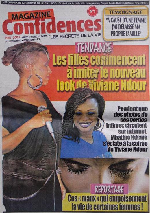 A la Une du Journal Confidences du 03 Décembre 2012