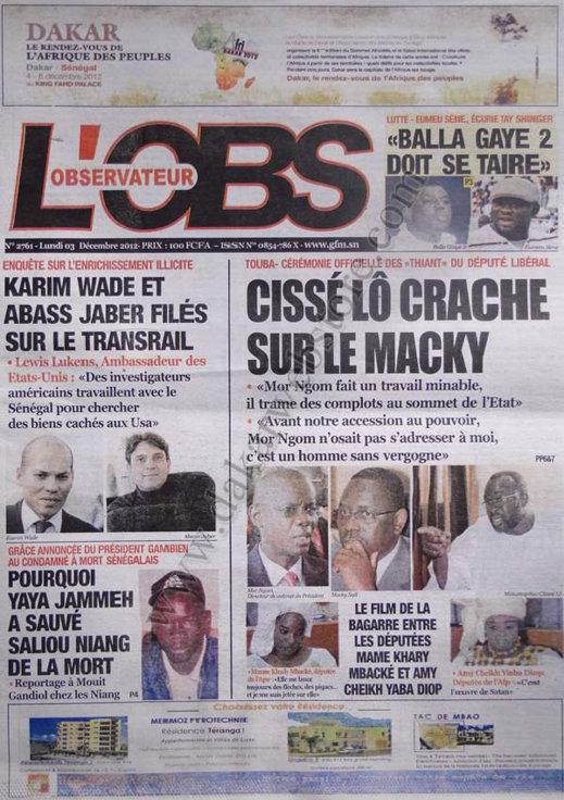 A la Une du Journal L'Observateur du 03 Décembre 2012