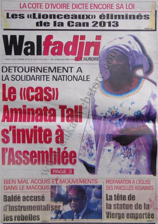 A la Une du Journal Walfadjri du 03 Décembre 2012
