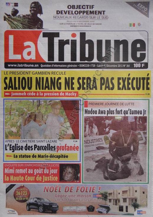 A la Une du Journal La Tribune du 03 Décembre 2012