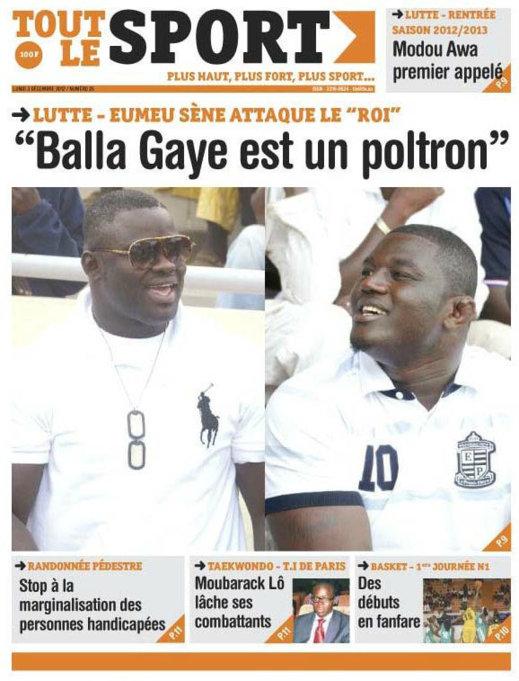 A la Une 1 du Journal Tout Le Sport du 03 Décembre 2012