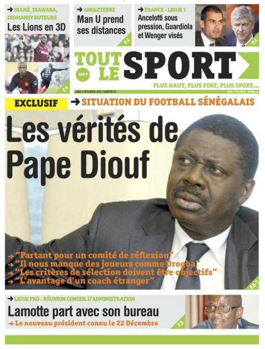 A la Une 2 du Journal Tout Le Sport du 03 Décembre 2012