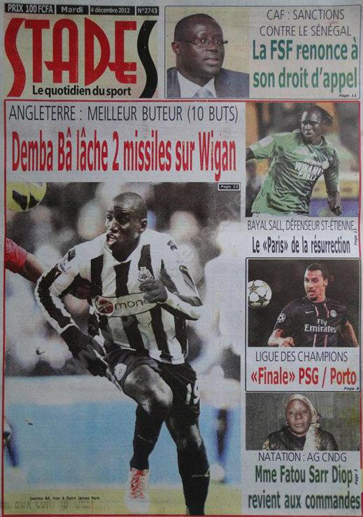 A la Une du Journal Stades du Mardi 04 Décembre 2012