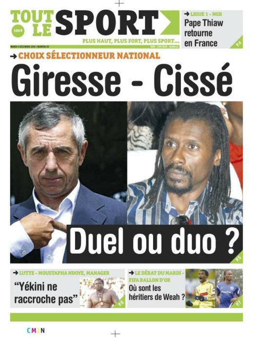 A la Une du Journal Tout Le Sport du Mardi 04 Décembre 2012