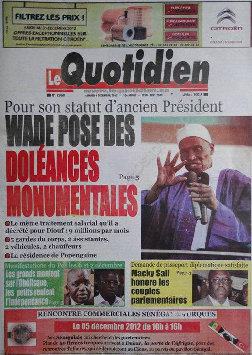 A la Une du Journal le Quotidien du Mardi 04 Décembre 2012