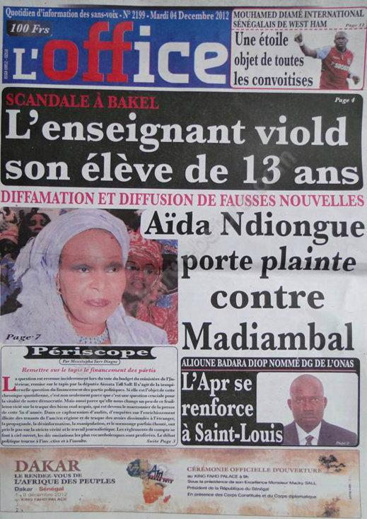 A la Une du Journal L'Office du Mardi 04 Décembre 2012