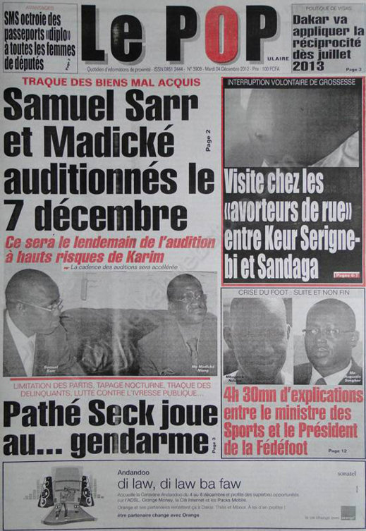 A la Une du Journal le Populaire du Mardi 04 Décembre 2012