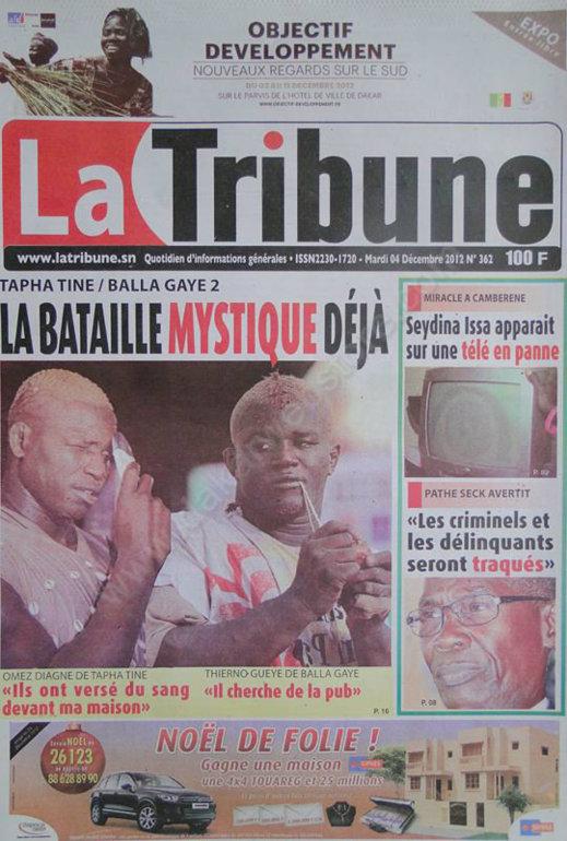 A la Une du Journal La Tribune du Mardi 04 Décembre 2012