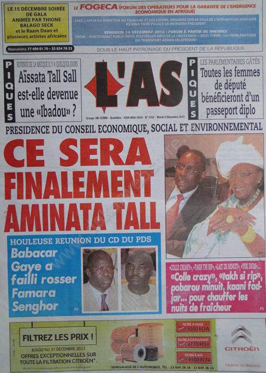 A la Une du Journal L'As du Mardi 04 Décembre 2012