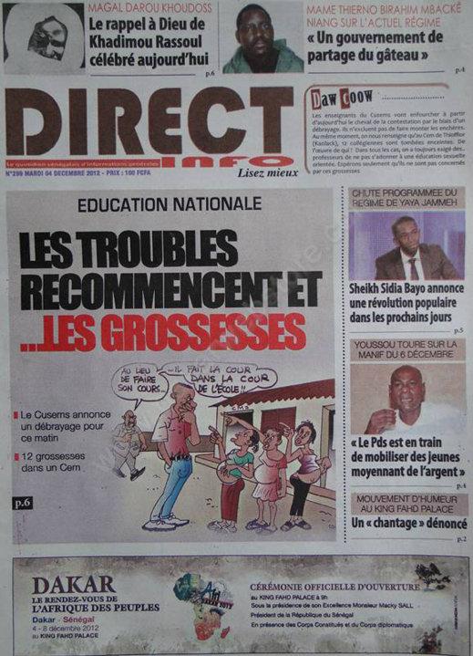 A la Une du Journal Direct Info du Mardi 04 Décembre 2012