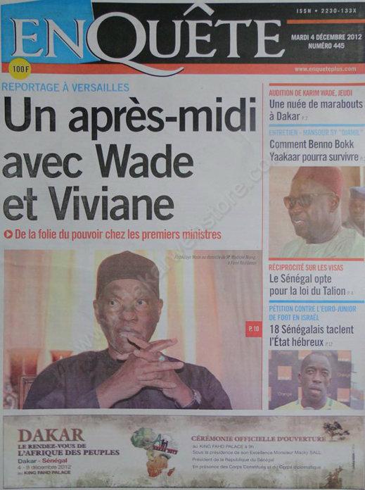 A la Une du Journal EnQuête du Mardi 04 Décembre 2012