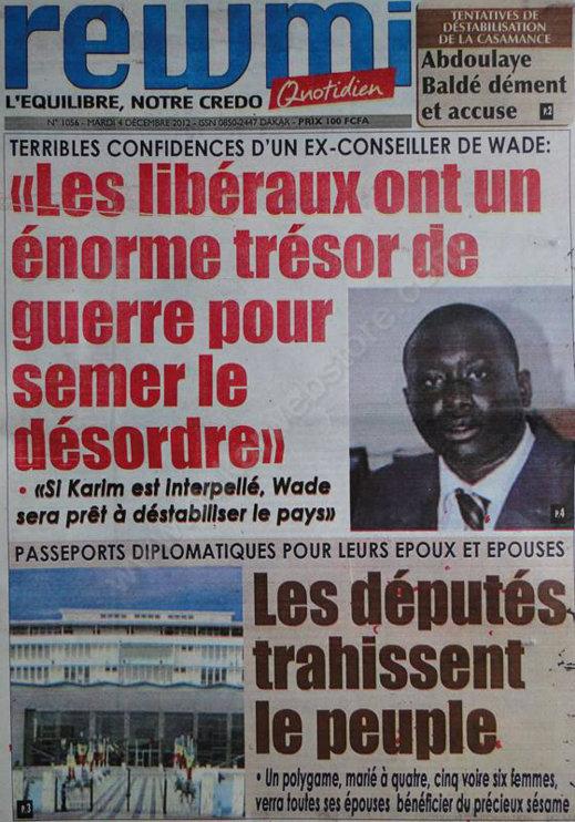 A la Une du Journal Rewmi du Mardi 04 Décembre 2012