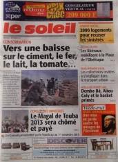 A la Une du Journal Le Soleil du vendredi 07 Décembre 2012