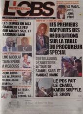 A la Une du Journal L'observateur du vendredi 07 Décembre 2012