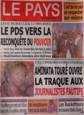 A la Une du Journal Le Pays du vendredi 07 Décembre 2012