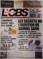 A la Une du Journal L'Observateur du Samedi 08 Décembre 2012