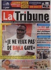 A la Une du Journal La Tribune du Samedi 08 Décembre 2012
