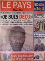A la Une du Journal Le Pays du Samedi 08 Décembre 2012
