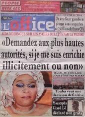A la Une du Journal L'Office du Samedi 08 Décembre 2012
